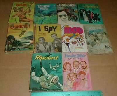 10 VTG Old TV Shows Books Combat Tarzan Ripcord Mod Squad Ironside The Munsters