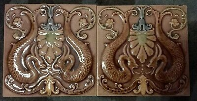 2 Beautiful German Antique Tiles 6x6 Inches