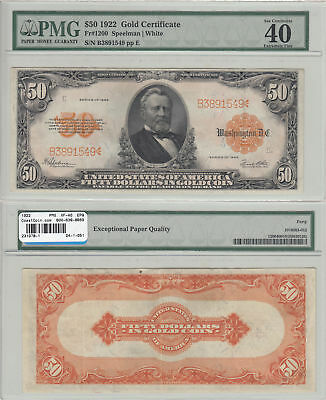 1922 $50 Gold Certificate Fr 1200 PMG Extremely Fine-40