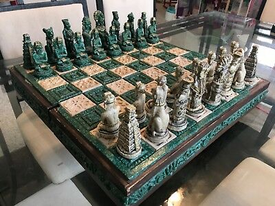 chess set vintage antique made in the 1940's-1950's in South America