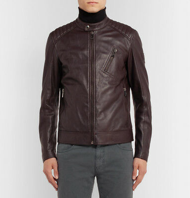 f5e32beb6a65 Size In V Made Racer Fit Belstaff Leather Bnwt Jacket 50 Italy Slim Brown  Dark 41Szw7qxn