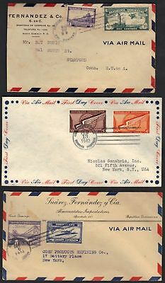 Dominican Republic 1933-43 3 Early Air Mail Covers All