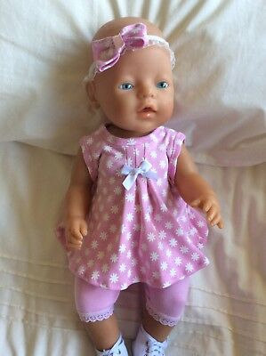 "Doll Clothes to fit 17"" Baby Born doll ~ 3 Piece Set. Pink ~ White Flowers"