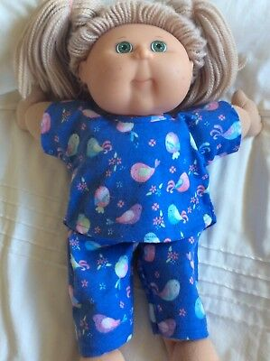 """DOLLS CLOTHES fit 16"""" CABBAGE PATCH DOLL - Pyjamas. Blue Pink Birds"""