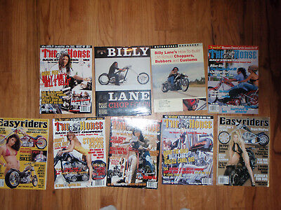 2 billy lane choppers inc. books and 7 magazines