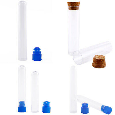 Plastic Test Tubes Vials Sample Containers Powder Craft with Caps Multi Size
