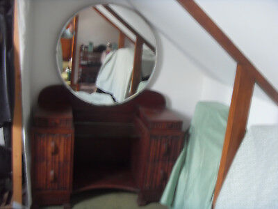 Vintage - Oak Art Deco Dressing Table And Mirror- Collection Only