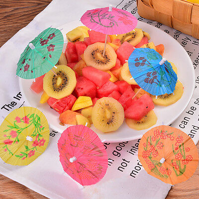 50x Colorful Mixed Paper Cocktail Drink Umbrellas Parasols Picks Party Drinks Kh