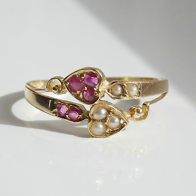 Antique Edwardian 18ct Gold 'Two Hearts' Ruby & Pearl Ring c1905; UK Size 'M'