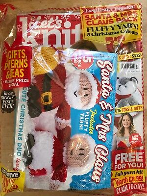 *last One* Lets Knit #137 Xmas Issue With Santa Toy Kit, Fluffy Yarn + 5 Colours