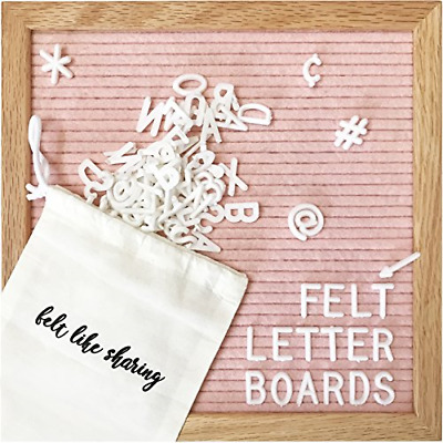 Light Pink Felt Letter Board 10x10 Inches. Changeable Letter Boards Include 300