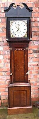 Small Welsh Antique Oak & Mahogany Longcase Grandfather Clock R. PUGH NEWTOWN