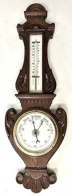 Antique Carved Oak Small Aneroid Barometer with China Dials PARKER ST LIVERPOOL