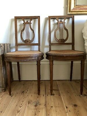 2 Antique French Louis XVI Cane Dining Chairs - Immaculate Condition