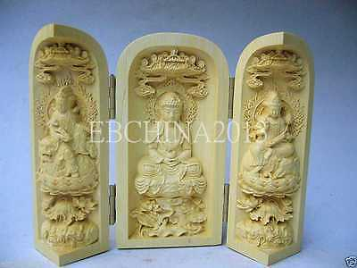 Oriental chinese old Vintage Boxwood Handwork Carved Buddha Statue NR
