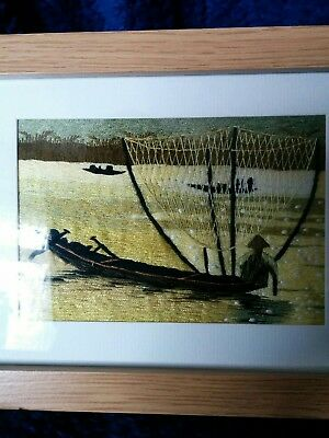 A Chinese Silk Embroidery On Cotton Framed