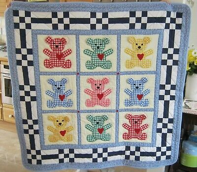 Baby cot quilt - Teddies. Hand crafted baby bedding 100% cotton
