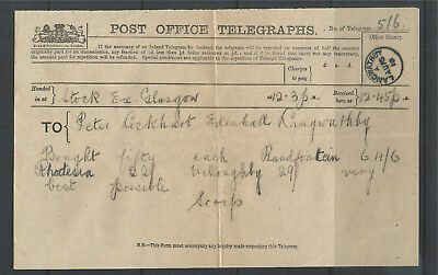 GB 1910 Post Office Telegraphs Form from Glasgow Stock Exchange to Langwathby