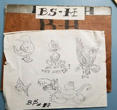 vintage tattoo flash lines copy acetate stencil folder pike long beach bob shaw