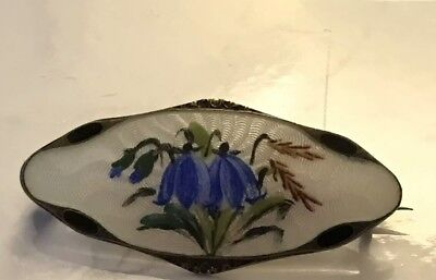 Vintage Norway Sterling Silver 925S Enamel Guilloche Flowers Brooch Elvik Co