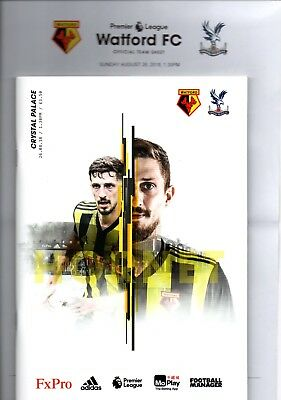 Watford v Crystal Palace 26th August 2018 Premier League Programme & Teamsheet