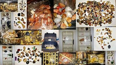 Lifetime lapidary collection. ~2.1kg. Hundreds of minerals & gemstones + tools.