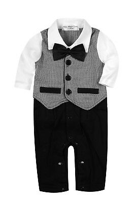 Baby Boy Formal*Party*Wedding*Tuxedo 1pc Houndstooth Waistcoat Suit