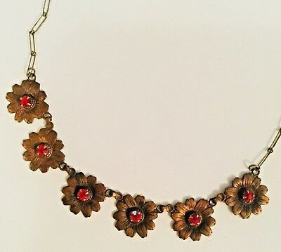"""Art Deco Floral Necklace Choker vtg old fancy evening red rhinestone flowers 16"""""""
