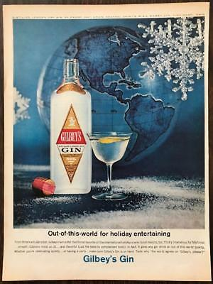 ORIGINAL 1963 Gilbey's Gin PRINT AD Out of This World Holiday Entertaining