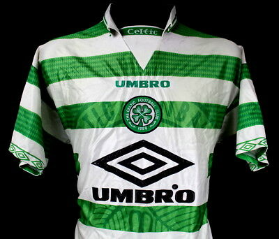 size 40 cfd43 0caed RARE RETRO SHIRT Fc Celtic Glasgow Umbro 1997/99 Home Jersey Size (M)