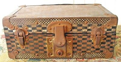 Antique Checked Metal Document*cash*money Lock Box*morris Wallpaper Lined~Rusty