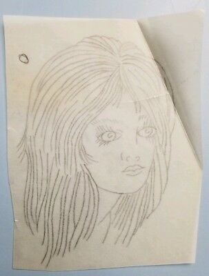vintage tattoo original girl head pinup on vellum stencil pike bob shaw flash