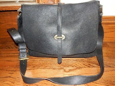 Large Black Leather MULBERRY Unisex Messenger Bag Flap Cross Body!