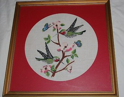 Vintage Crewel Embroidery Hummingbird Needlepoint Butterfly Linen Framed Art