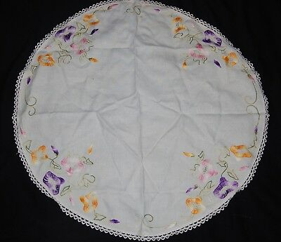 """Vintage Round Linen Embroidered Tablecloth Purple Pink Gold Flowers Floral 30"""""""