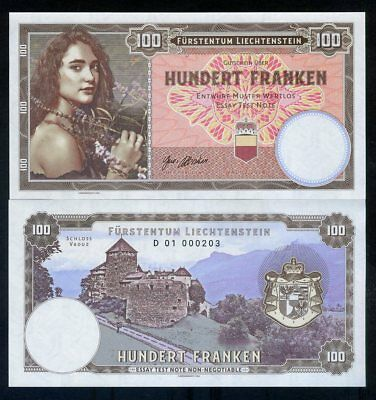 Liechtenstein, 100 Francs, 2018, Private issue, Specimen - Girl with flowers