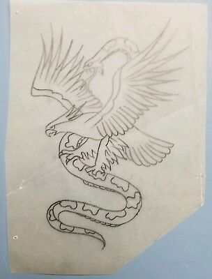 vintage tattoo original eagle snake battle on vellum stencil pike bob shaw flash