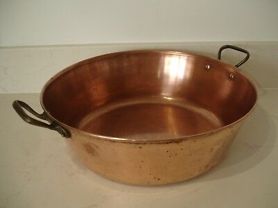 LARGE HEAVY VINTAGE FRENCH COPPER JAM OR CONFITURE PRESERVE COOKING PAN Dia38cm