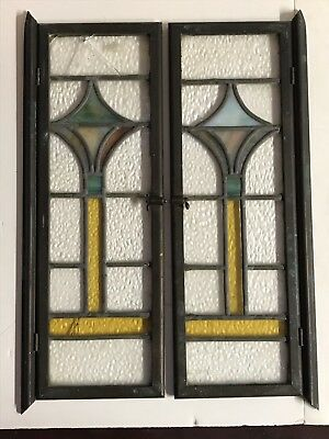 Pair of Antique Vintage Small Stained Glass Decorative Windows Leaded Bronze??