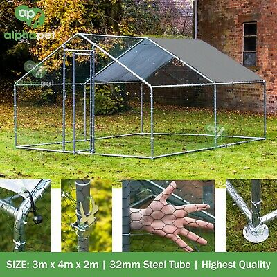 3m x 4m Chicken Run Coop Cage Pen Waterfowl Enclosure for Pets Hens Dogs Poultry