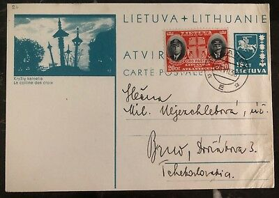 1938 Palanga Lithuania Stationary Postcard Uprated Cover To Brno Czechoslovakia