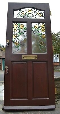 Leaded light stained glass front door with keys. R839. DELIVERY OPTIONS!