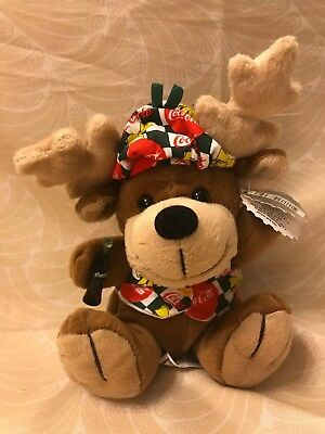Coca-Cola Reindeer with Vest & Beanie - Bean Bag Plush Toy w/ Tags 1998