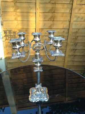 Rare Antique Sheffield Silver Plated 5 Sconce Candelabra