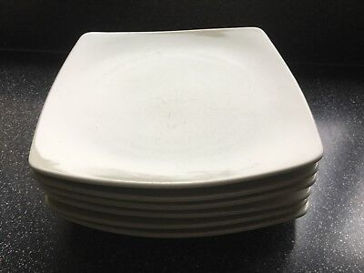 Six 6 Marks And Spencer Andante Square Off  White Dinner Plates