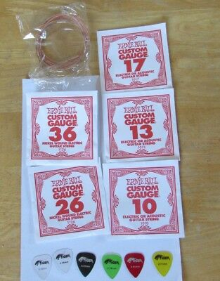11 Guitar Strings for Electric Guitar 5 Ernie Ball, 6 not known & 6 Tiger Picks