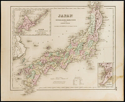 Carte ancienne et rare (1857) du Japon, de Colton. Antique Map of Japan