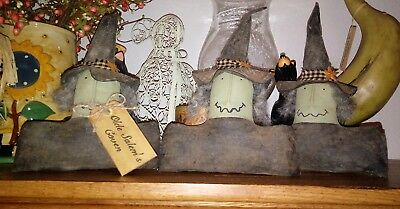 Three primitive witch ornies Halloween