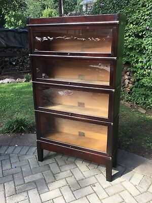 Antique Globe Wernicke barrister bookcase 4 stack Mission style