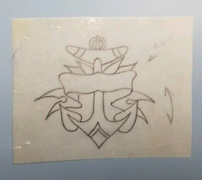 vintage tattoo original eagle navy anchor on vellum stencil pike bob shaw flash